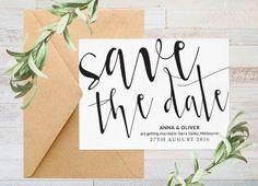 Save the date Printable save the date Black by ThePrintableShopcom