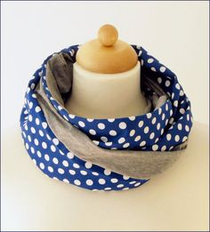 Loop, polka dots, blue gray, for women, circlescarf, infinity scarf