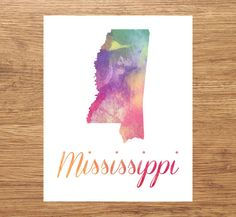 Mississippi Map Print Of Watercolor Map Watercolor Printing - Watercolor us map