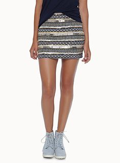 Exclusively from Twik - Textured mini with Aztec patterns, perfect for a glamorous everyday look - Pearly bead and metallic sequin detailing - Concealed side zip - Fine satiny knit lining Short Skirts, Mini Skirts, Motifs Aztèques, Aztec Patterns, Glamour, Everyday Look, Top Colour, Sequins, Stylish