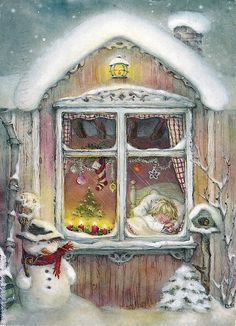 "Photo from album ""Lisi Martin Christmas Cards"" on Yandex. Vintage Christmas Images, Old Fashioned Christmas, Christmas Scenes, Christmas Past, Vintage Holiday, Christmas Pictures, Christmas Greetings, Winter Christmas, Christmas Windows"