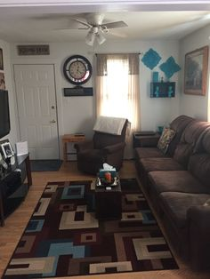 My living room Browns and teal
