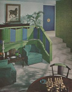 Blue and green living room Sherwin Williams Home Decorator 1962