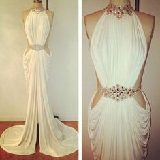 Gorgeous greek goddess-like long white prom dress 2014 with cut outs and open back