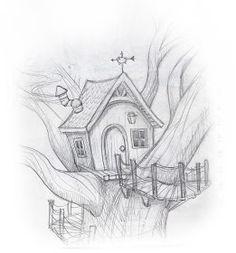 Art Drawings Sketches Simple, Pencil Art Drawings, Easy Drawings, Sketches Of Birds, Tree House Drawing, Drawing Trees, Nature Drawing, Bird Sketch, House Sketch