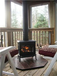 Wood stove on an enclosed porch, perfect for a chilly summer evening on Cape Cod. Porch Wood, Porch Fireplace, Enclosed Porches, Screened In Porch, Side Porch, Cape Cod, Porch Kits, Porch Ideas, Porch Addition
