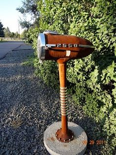 Unique Junktique: Tuesday's Top Five Favorite Junk Finds #21 Featuring Mailbox Sculpture Art - Vintage Chevy headlight sculptural mailbox