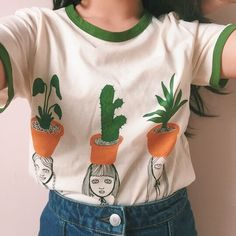 t-shirt indie grunge grunge t-shirt basic plants white cute cactus ringer tee white t-shirt shirt girl green potted plants Mode Style, Style Me, Xavier Samuel, Looks Cool, Mode Inspiration, Dress To Impress, Festivals, Korean Fashion, Grunge