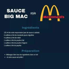 sauce a bigmac Copycat Recipes, Beef Recipes, Cooking Recipes, Aioli, Big Mac Sauce Recipe, Burger Mania, Dips, Salad Sauce, Weird Food