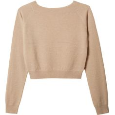 Organic by John Patrick Crop Pullover ($80) ❤ liked on Polyvore featuring tops, sweaters, shirts, jumpers, long sleeve crop sweater, cropped pullover sweater, beige shirt, crop shirt and raglan shirts