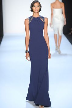 Badgley Mischka vestido largo azul detalle hombros
