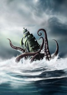 I separated some amazing Kraken illustrations I found on deviantART. The Kraken, contrary to what ma Mythological Creatures, Fantasy Creatures, Mythical Creatures, Sea Creatures, Kraken Tattoo, Kraken Art, Motif Art Deco, Sea Of Thieves, Octopus Art