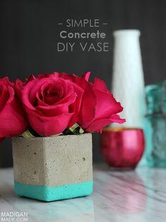 simple diy concrete vase - so intrigued by the concrete idea!