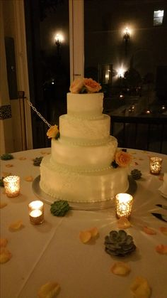 Simple piping adorn this buttercream cake by Patisserie Bechler.  #wedding cake #cake #roses #buttercream #frosting #Naval Postgraduate School #Club Del Monte