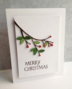 I pulled out older Memory Box dies, Winterberry Sprig, and Tender Leaves, to make a Christmas card!...I die cut the sprig with white cardstock and colored with markers. I glossy accented the berries