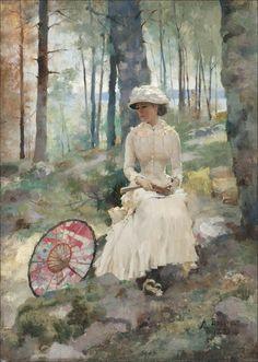 """""""Under The Birches"""" by Albert Edelfelt, 1881"""