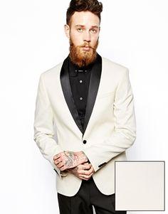 ASOS+Slim+Fit+Tuxedo+Suit+White+Jacket+Black+Trouser