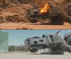 A graphic tale: the visual effects of Mad Max: Fury Road | The War Rig crashes.