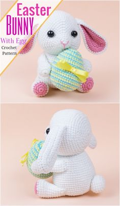 There are endless possibilities to crochet bunny patterns and you will see here many interesting and beautiful bunnies and rabbits. There is also not any limit of color combination. Crochet Dolls Free Patterns, Amigurumi Patterns, Amigurumi Tutorial, Crochet Stitches, Easter Bunny Crochet Pattern, Crochet Rabbit, Crochet Animals, Crochet Toys, Free Crochet