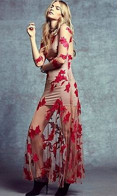Lace red dress long sheer