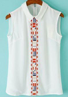 White Lapel Sleeveless Tribal Embroidered Blouse 22.67