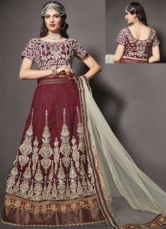 Maroon Beige Embroidery Work Makhmali Silk Net Designer Wedding Lehenga Choli http://www.angelnx.com/Lehenga-Choli/Wedding-Lehenga-Choli