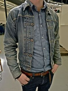 Triple different types of denim, beautiful washes!
