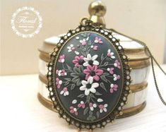 Boho Pendant Necklace, Large Pendant, Flower Pendant, Gray Pendant, Romantic Gift for Her, Wife Gift, Anniversary Gifts for Women