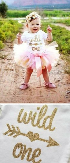 Oh this little girl is such a cutie! First birthday photo shoot with a wild one onesie and pink and gold tutu #baby #one #ad