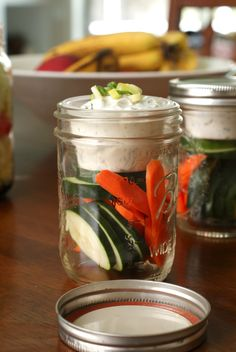 By reusing a small plastic cup and a wide mouth mason jar, you can have an easy, healthy snack to go!