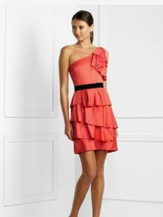 2012 Spring Style A-line One Shoulder Sashes / Ribbons  Sleeveless Short / Mini  Elastic Woven Satin Red Cocktail Dress / Homecoming Dress