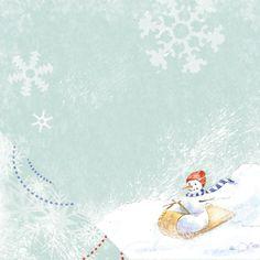 A #snowman #sledding through the #snow #scrapbook paper
