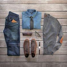 Terrific cardigan and chambray shirt! #StayTailored