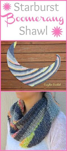 Crochet Shawl The Starburst Boomerang Shawl. A free pattern by Croyden Crochet! - Crochet this beautiful shawl that features the classic boomerang shape! A beginner friendly pattern that works up quickly! Poncho Au Crochet, Crochet Shawls And Wraps, Crochet Scarves, Crochet Yarn, Crochet Clothes, Free Crochet, Crochet Dresses, Crochet Stitches, Shawl Patterns