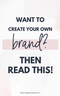 Want to Create Your Own Brand? Branding your business is, without a doubt, the most challenging aspect of building a business. It's very often the first step of creating your business, and sadly for so many of us, it can really hold things up. Then read this! It will help you get started with your brand! #branding #onlinebusiness Branding Your Business, Business Marketing, Business Tips, Online Marketing, Online Business, Business Quotes, Marketing Program, Personal Branding, Creative Business