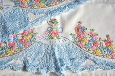 Vintage Pillowcases - Embroidered Southern Belle Flower Garden - 2 Standard Size Cases - pretty color combinations