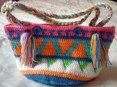 Punto crochet bolsa multicolor con estampado Azteca mercado indio nativo…