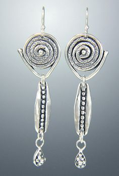 14st 677 - Sterling Silver Textured Spiral Earrings with Dangle and Grape Clusters on Silver Ear Wires. Also Available with 14k Gold Posts (14st 677post).