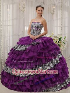 Purple Ball Gown Sweetheart Zebra and Organza Beading Quinceanera Dress