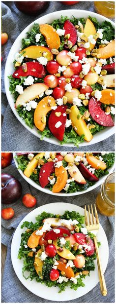 Stone Fruit Kale Salad Recipe on twopeasandtheirpod.com. This gorgeous kale salad is perfect for summertime!