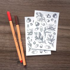acorns and oak leaves illustration coloring stickers! Because we all love detailed coloring pages <3 But honestly, who doesn't love stickers?! So you clearly see, there could be no better combination! And these are very affordable too!