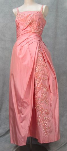 Glam 1950s Formal Dress Designer Emma Domb Taffeta by klassicline