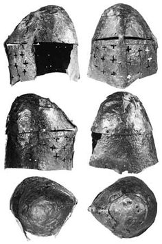 This is the second Madeln helm. A further development of the previous form. The crown is a bit more dome shaped and the top starts to taper more. Notice the appearance of the eye slits? They taper too! And they are only reinforced at the underside. Now in Kantonsmuseum Baselland, Liestal.