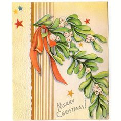 Vintage 1940s Embossed Christmas Card Stars Orange Ribbon and Mistletoe