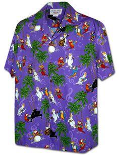 f93c0671 Pacific Legend Pacific Legend Parrot & Palm Tree Purple Cotton Men's Hawaiian  Shirt Blue Gold