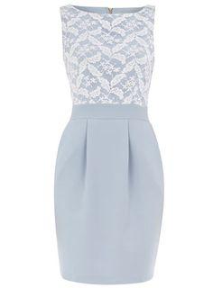 Pale blue lace front dress