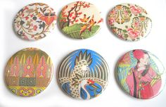 Pocket Mirrors Asian Inspired set of 6 by buttonsandbadges on Etsy