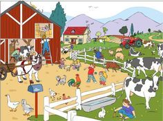 På gården Play School Toys, Subtraction Kindergarten, Farm Pictures, Illustration Story, Action Verbs, Picture Writing Prompts, Human Drawing, Ecole Art, Picture Story