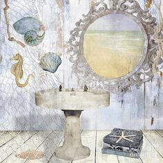 Bath Tub Painting - Beach House Bath II by Mindy Sommers