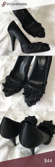 """BCBG MaxAzria Heels Adorable """"Lark"""" Frayed Satin leather lined and sole, ruffled pleats on the vamp, lightly padded 4 1/4"""" covered heel. Made in Brazil. True to size. BCBGMaxAzria Shoes Heels"""